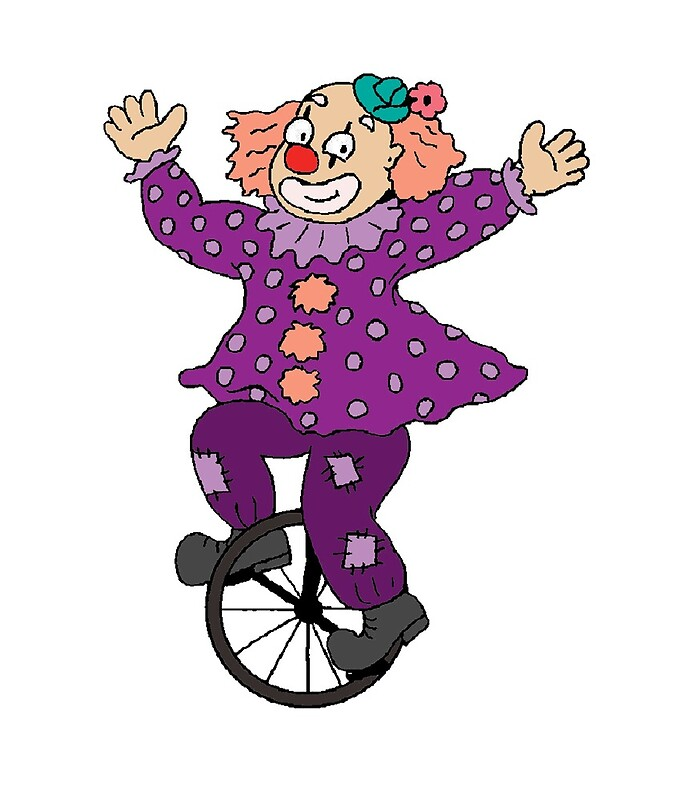 Purple unicycle. Clown riding a by