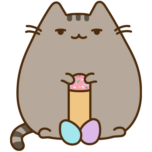 Pusheen png. Cat sticker telegram stationery