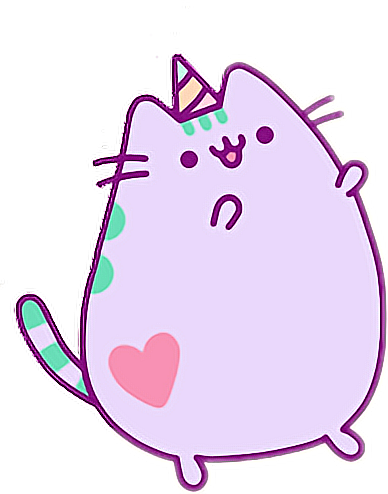 Pusheen heart png. Kawaii cat lila party
