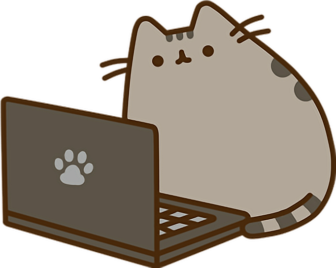 Pusheen vector computer. Laptop cat sticker by