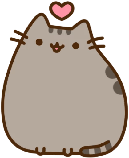 Pusheen heart png. The cat sticker package