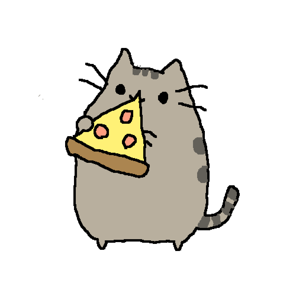 Pusheen pizza png. Pixilart eating so derpy