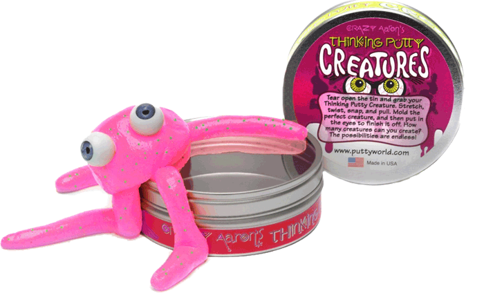 Crazy aaron creatures pink. Putty transparent toy image black and white