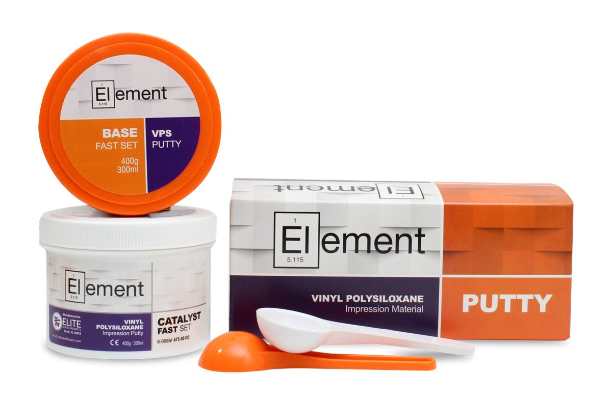 Element fast set vps. Putty transparent tray banner stock