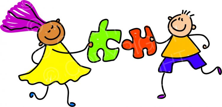 Puzzle clipart cartoon. Happy jigsaw kids toddler