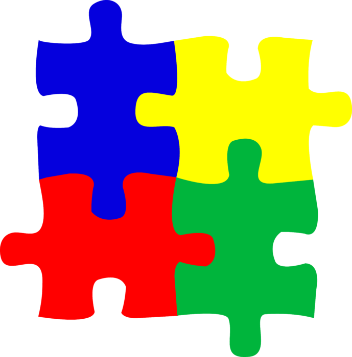 Puzzle transparent logo. Children or autism pieces