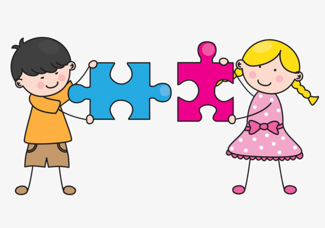 Sharing clipart puzzle. Kids puzzles child play