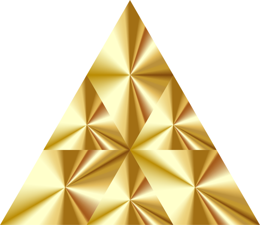 Transparent pyramid gold. Golden triangle geometry computer