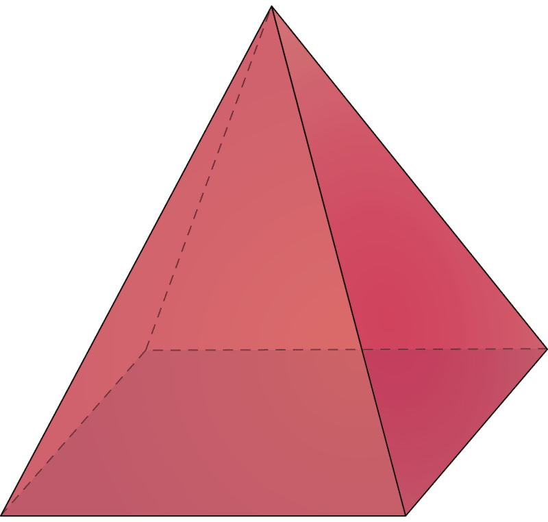 Transparent pyramid rectangular. Volume of pyramids read