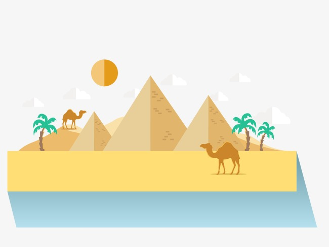 Egyptian camel coconut tree. Pyramids clipart clip transparent library