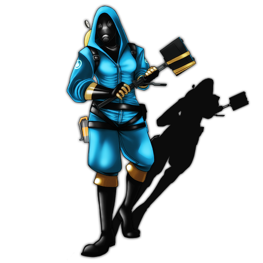Pyro transparent angry. Female blue red version