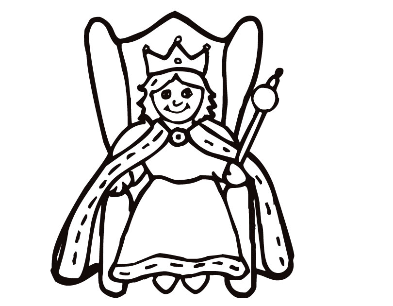 Queen clipart outline. Cool and opulent coloring