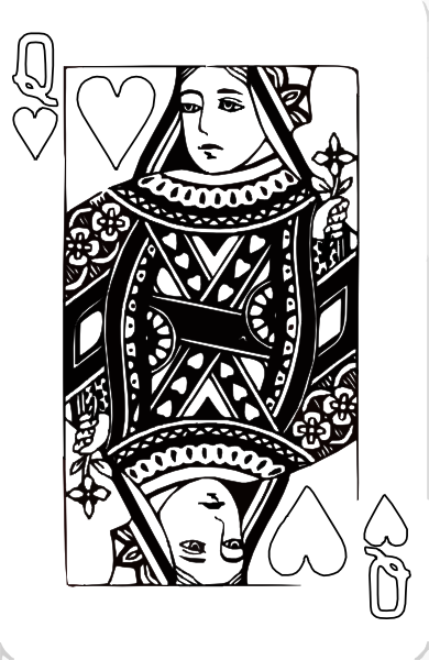 Queen playing cards png. Of hearts coloring page