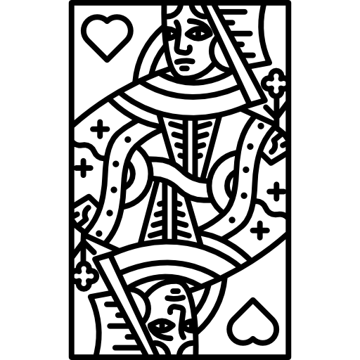 Drawing icons card. Queen of hearts free