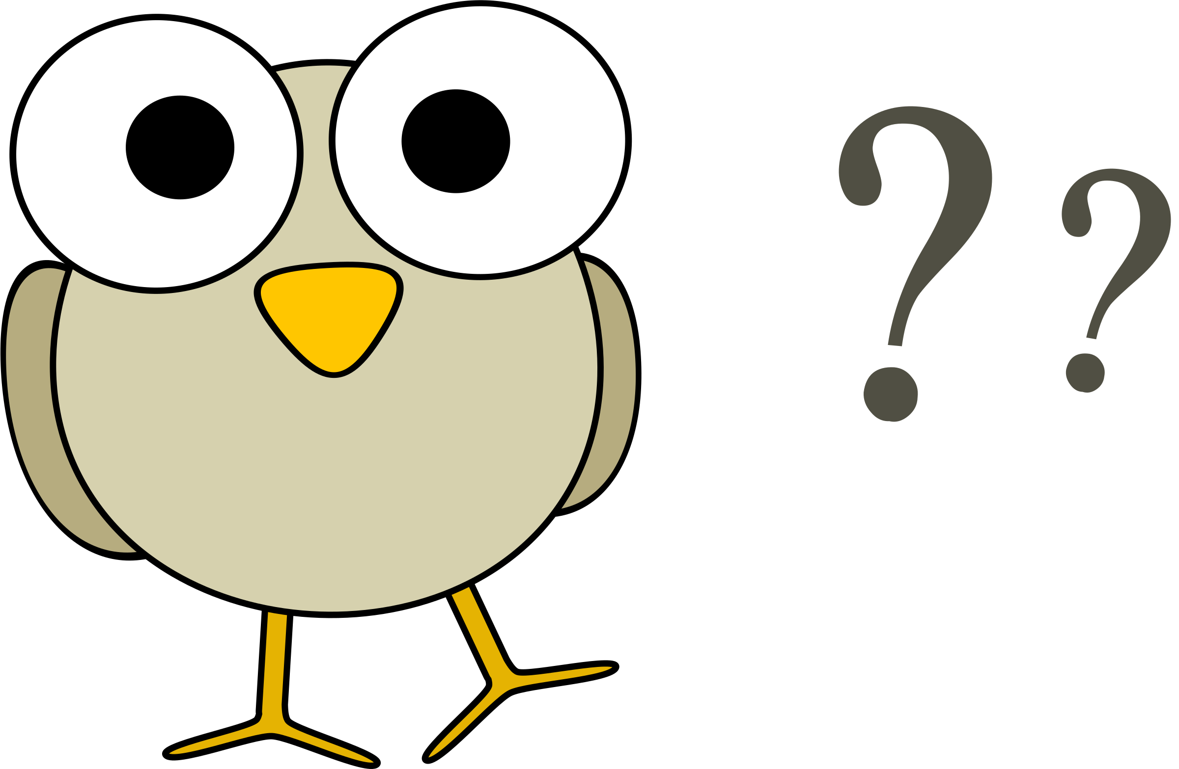 Question clipart. Grey bird with marks