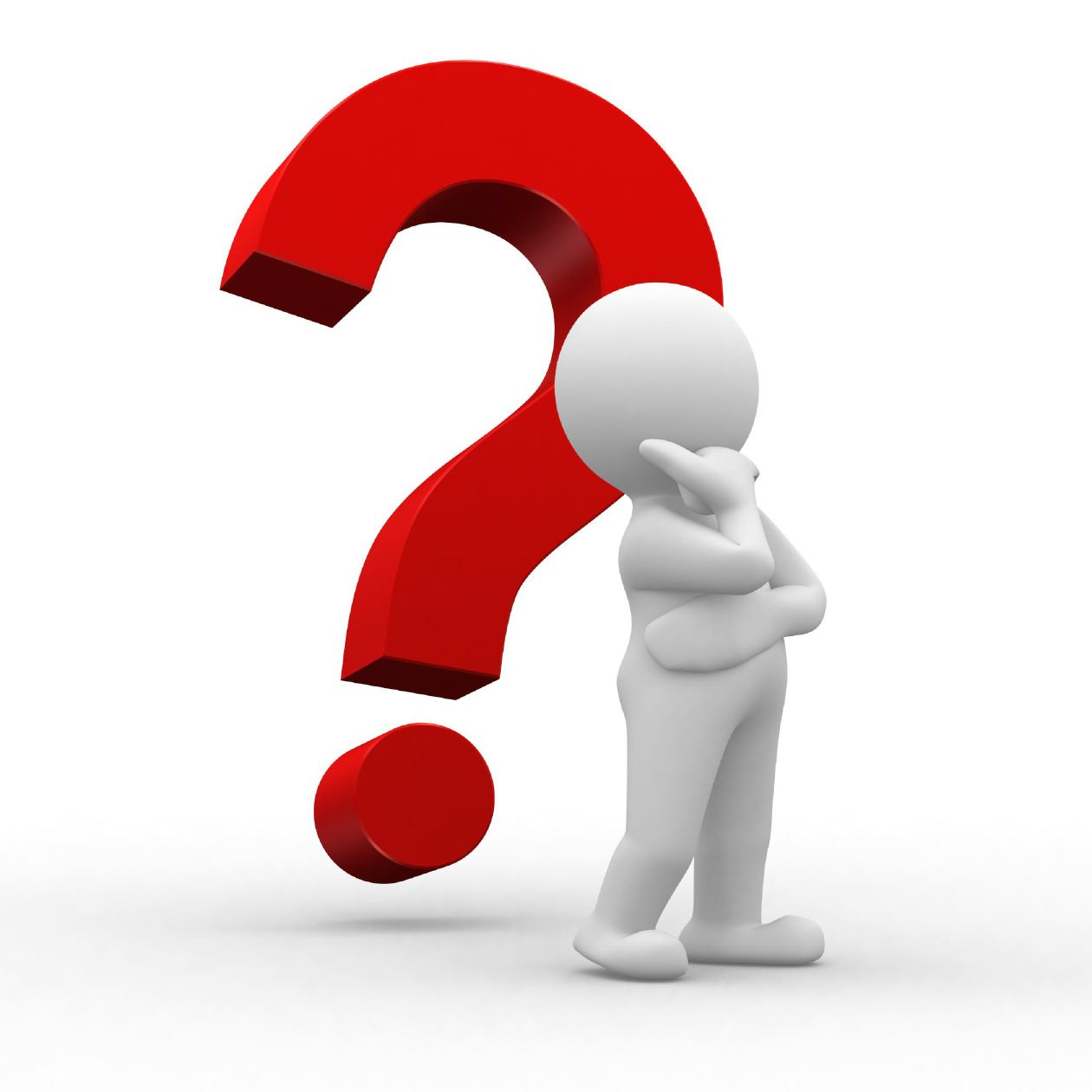 Question clipart. Person thinking with mark