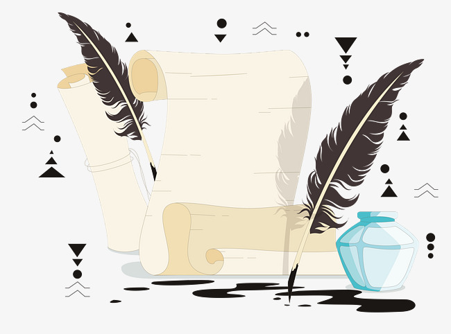 Quill clipart dip pen. Classical european feather and