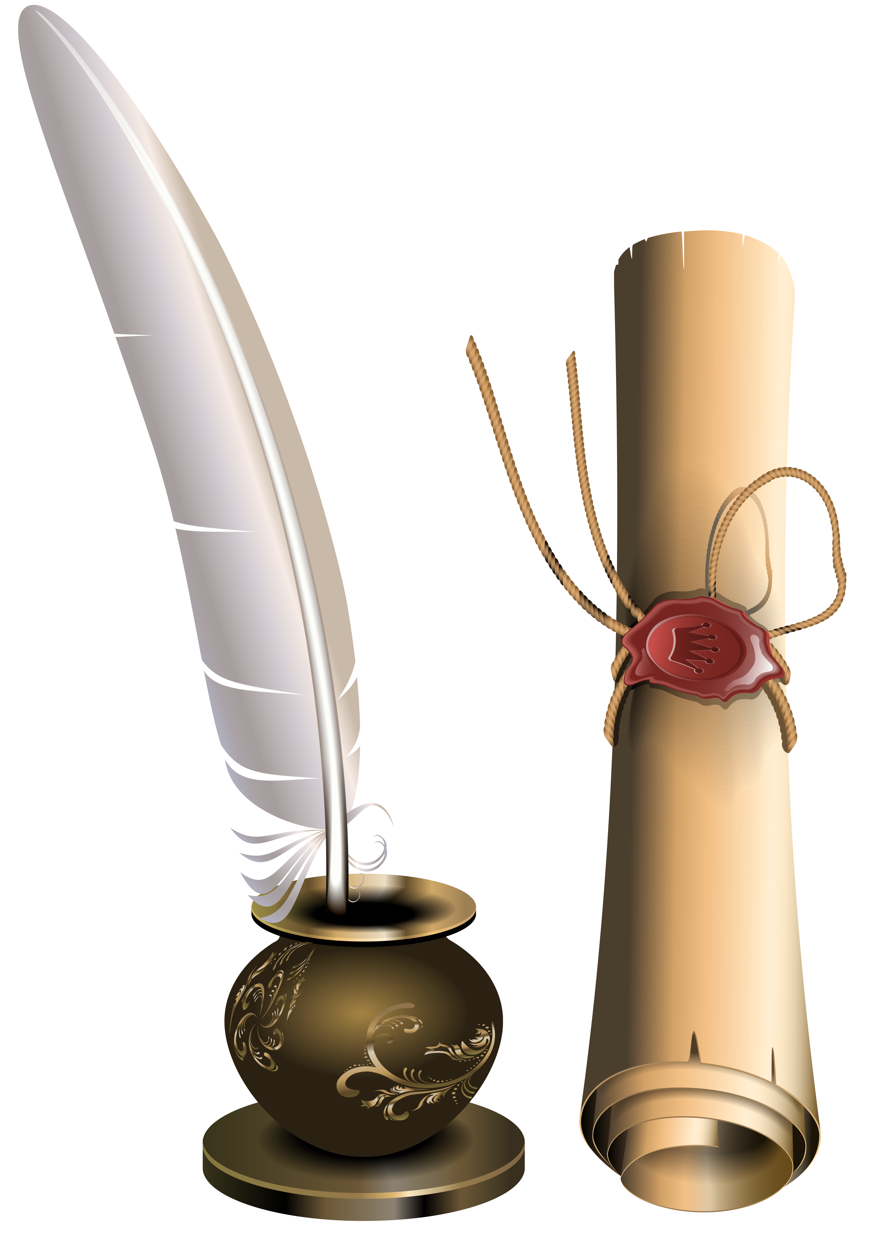 Quill clipart inkwell. Scroll and png clip