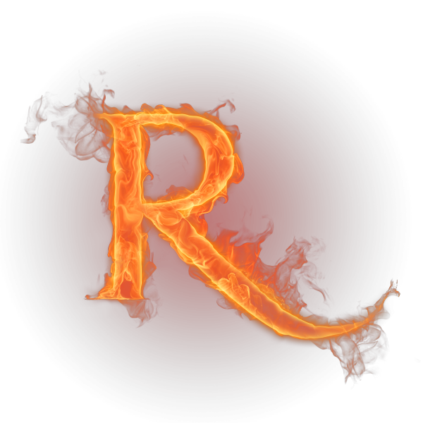 R fire png. Letter flame english alphabet