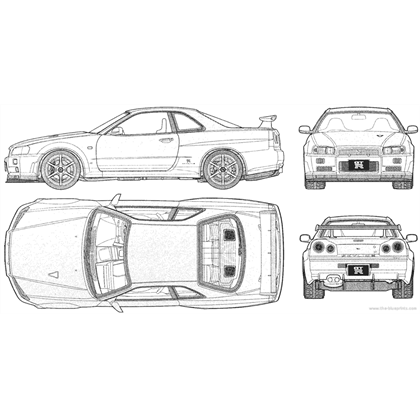 R34 drawing logo. Nissan skyline gtr r