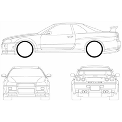 R34 drawing logo. Nissan skyline gt r