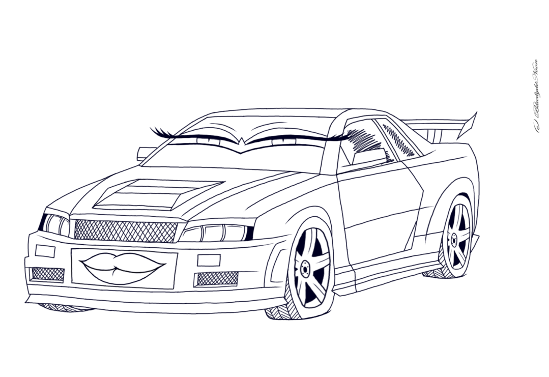 R34 drawing gtr nissan. Official carsona blue the