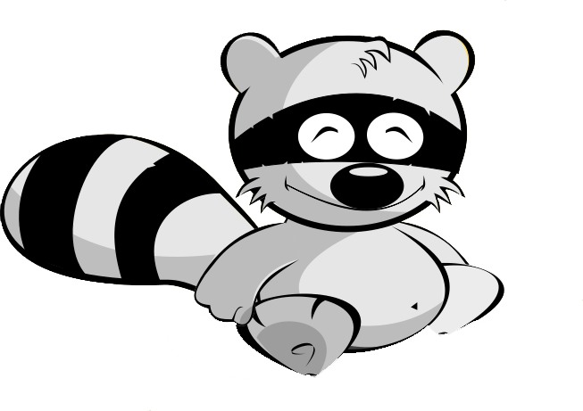 Drawing raccoon cute forest animal. Free to use clipart