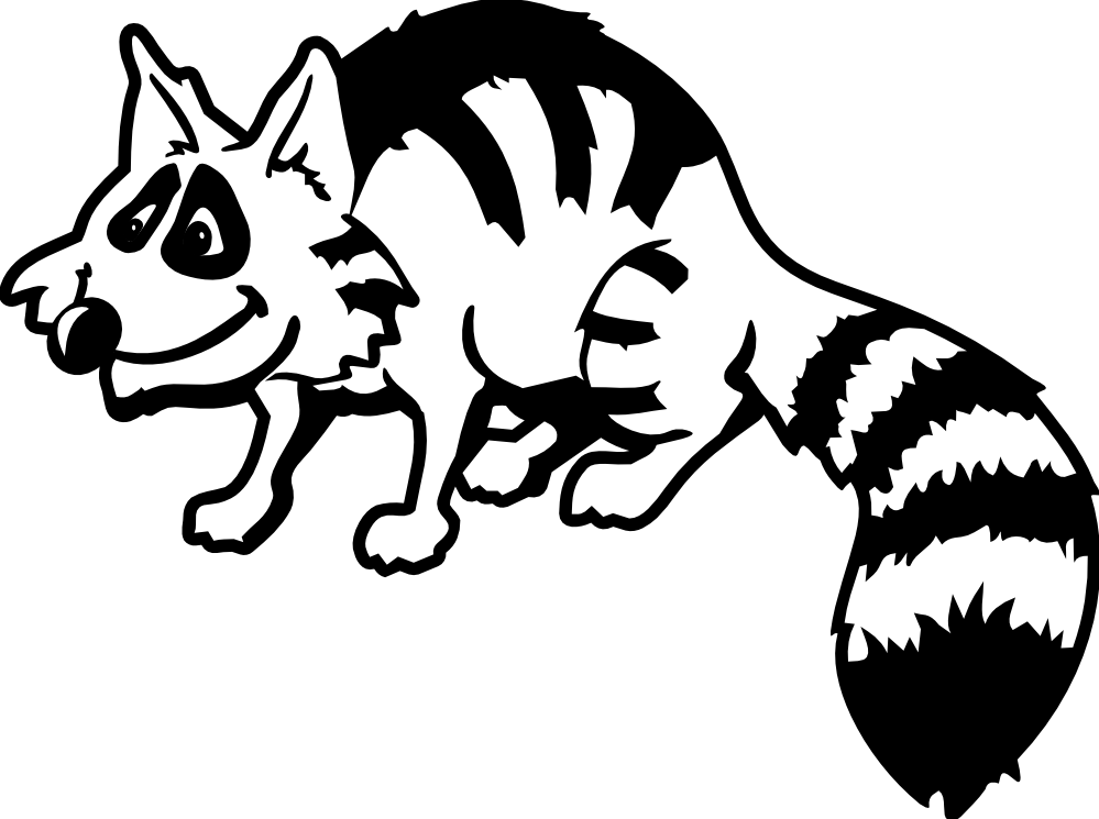 Drawing raccoon outline. Free cartoon pictures download