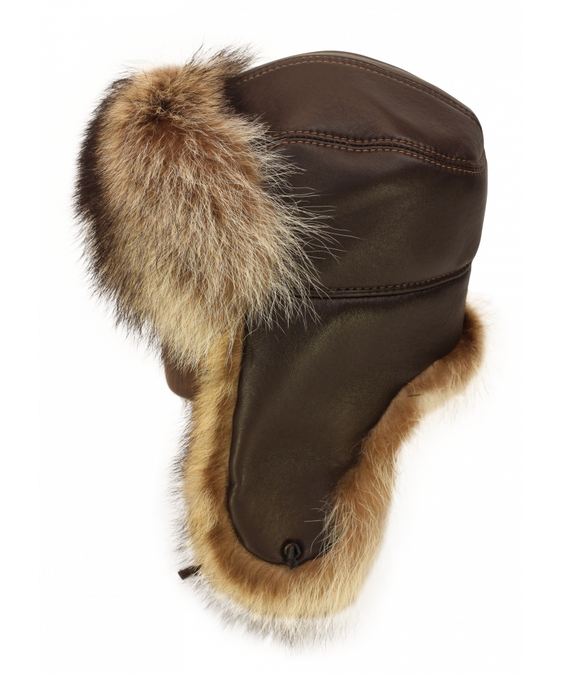 Raccoon hat png. Trapper in brown leather
