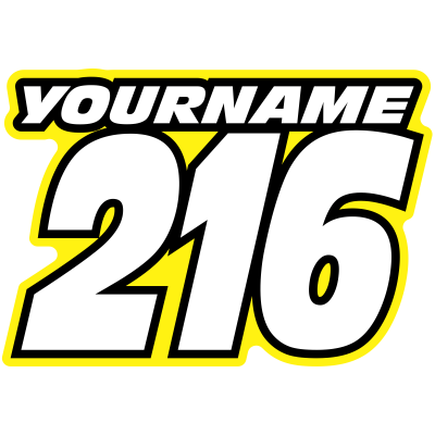 Race numbers png. Multicolored with name printed