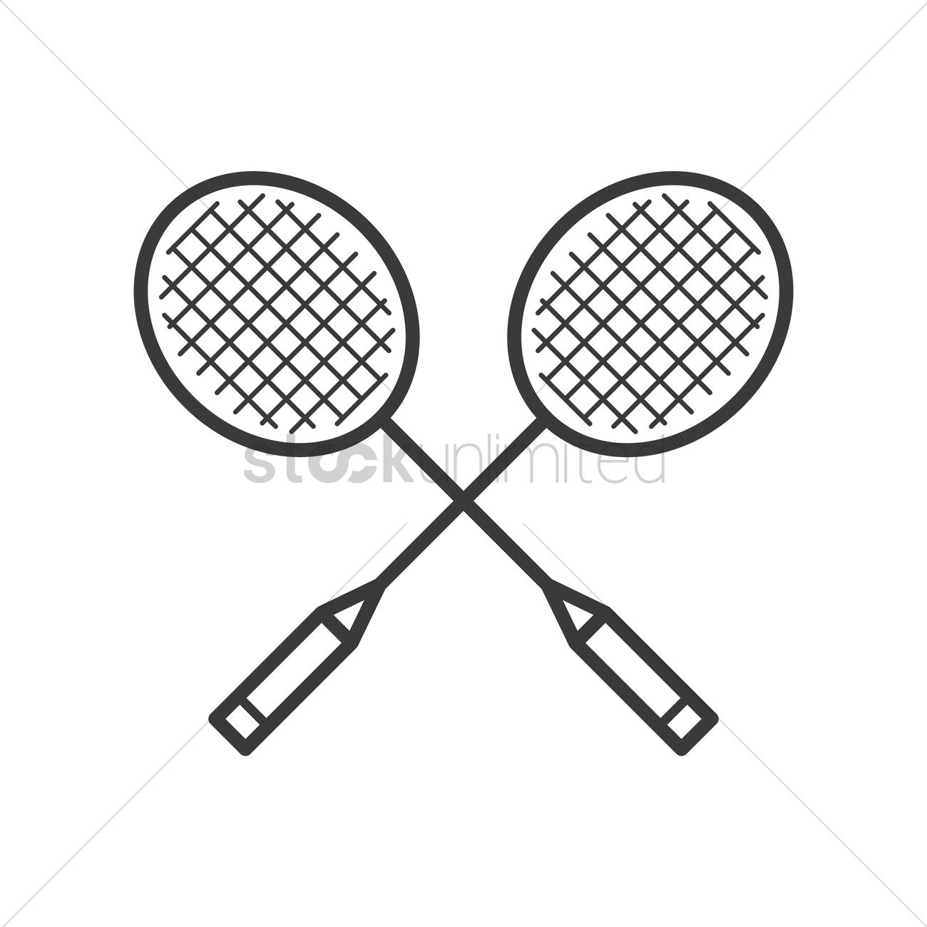 Rackets vector image stockunlimited. Racket clipart badminton net black and white download