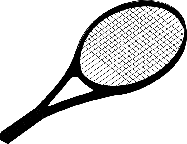 Racket clipart lawn tennis. Black clip art at