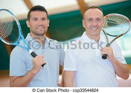 Two men with tennis. Racket clipart men's vector black and white download