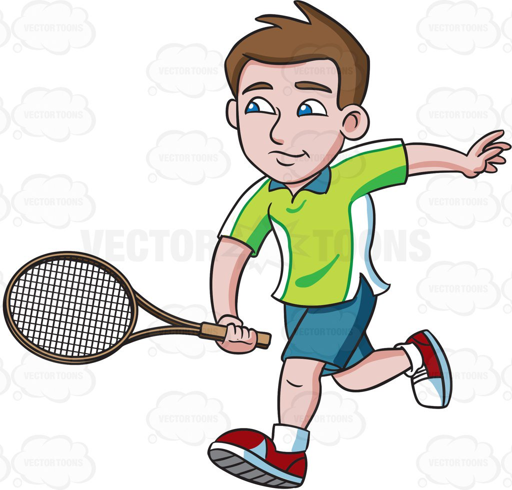A tennis player chases. Racket clipart men's picture transparent library