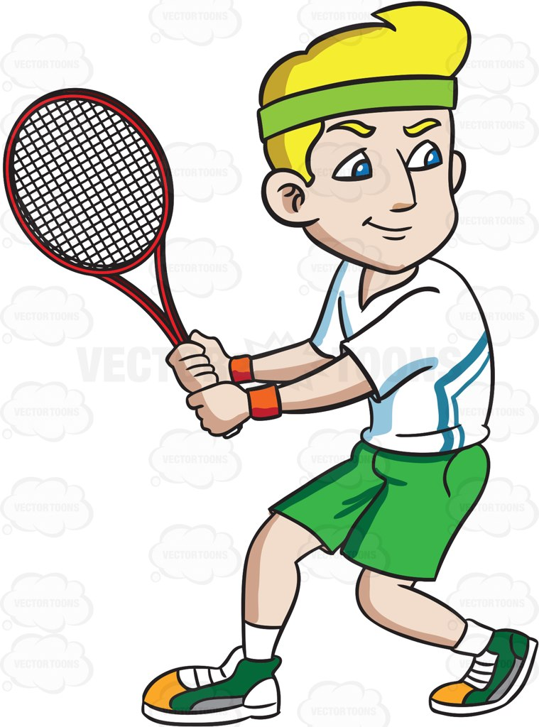 Racket clipart men's. A smiling tennis player banner black and white stock