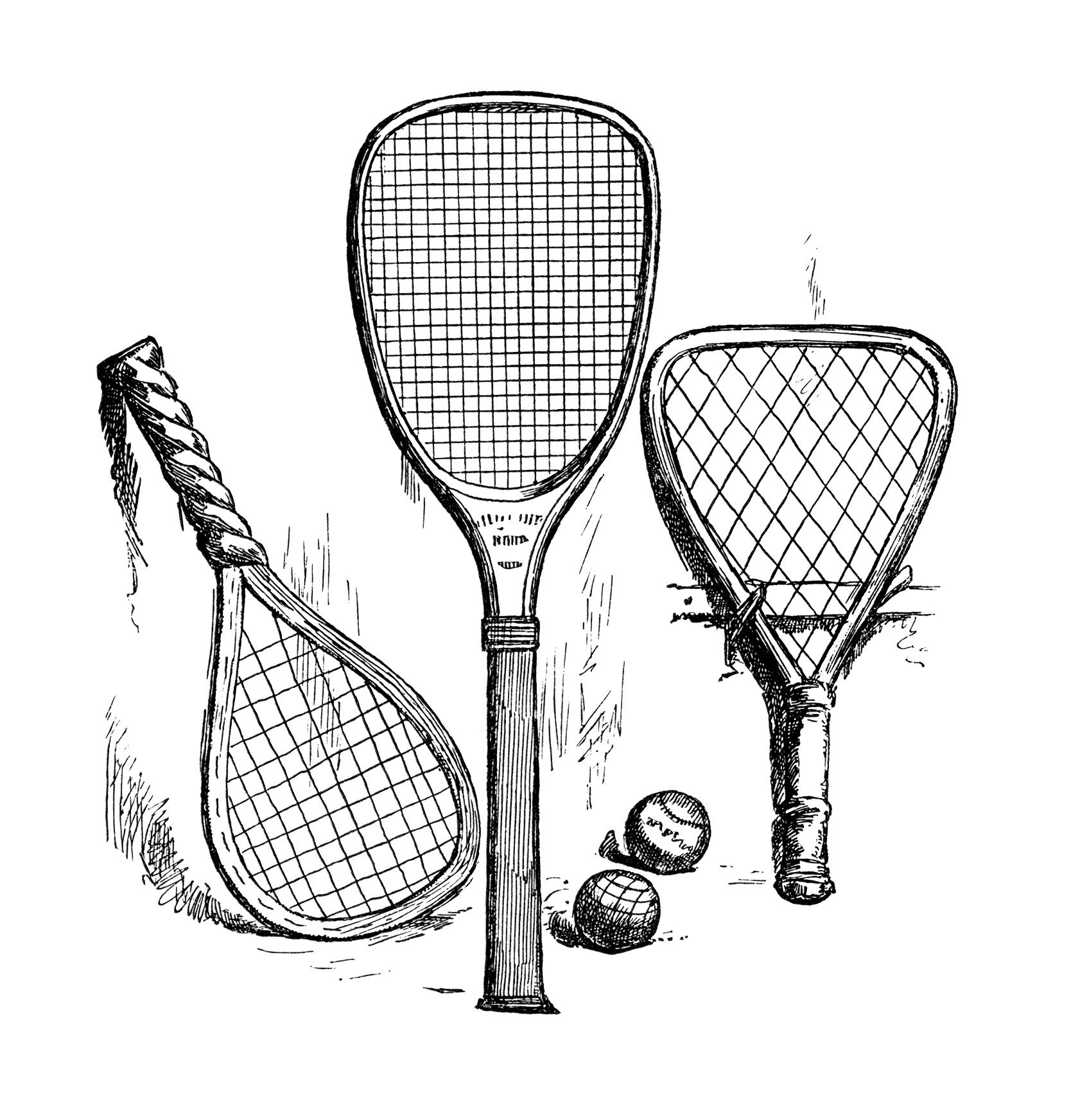 Racket clipart tennis team. Vintage clip art antique