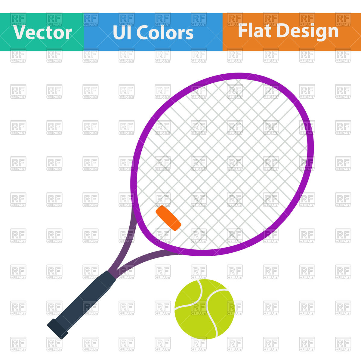 Tennis and ball royalty. Racket clipart vector image royalty free