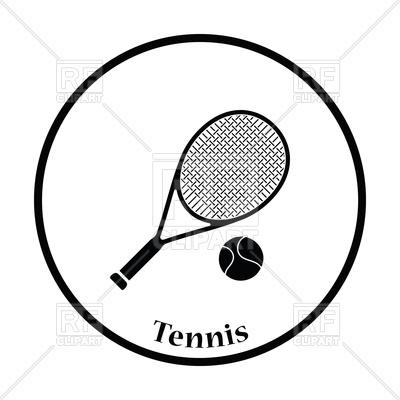 Icon of tennis and. Racket clipart vector image freeuse stock