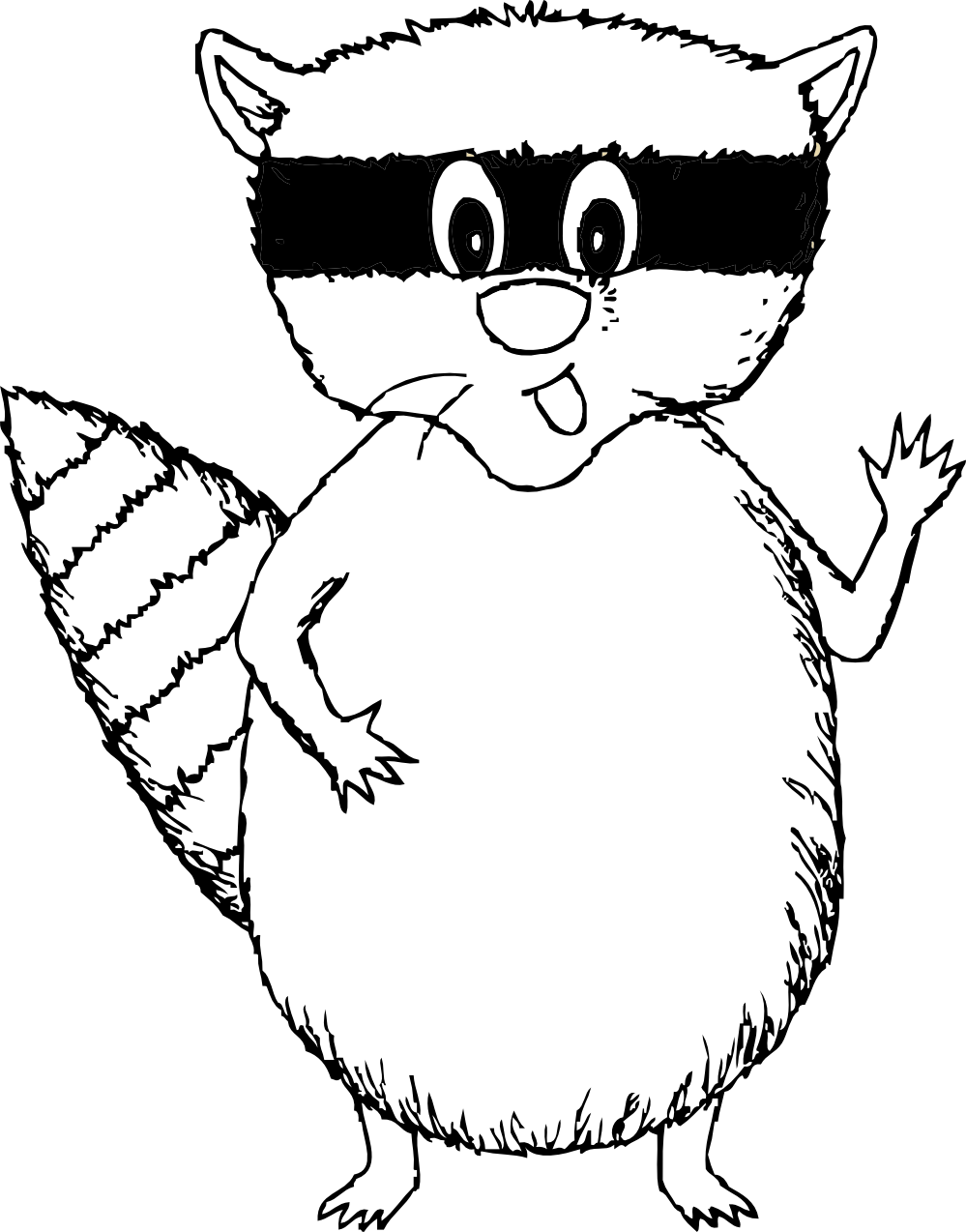 Drawing raccoon outline. Free black pictures download
