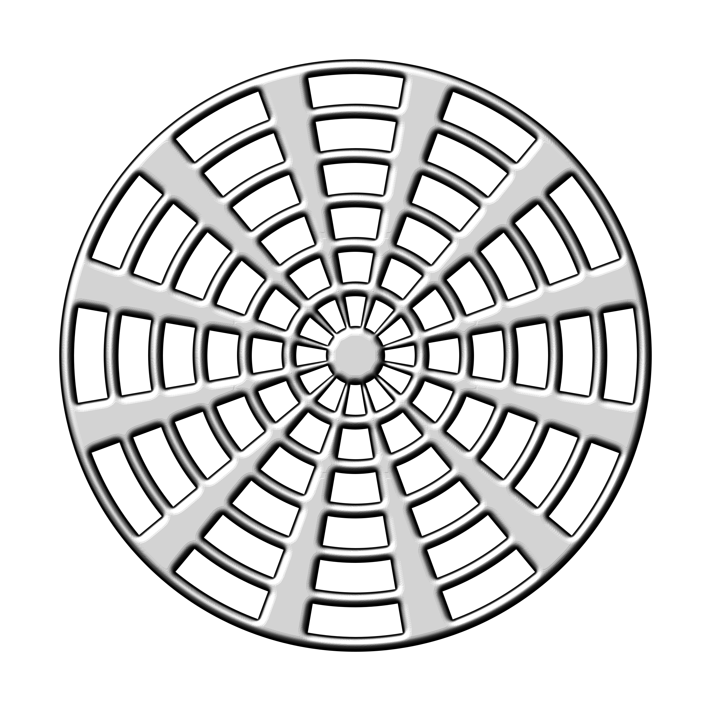Radial drawing detailed. Design silver icons png