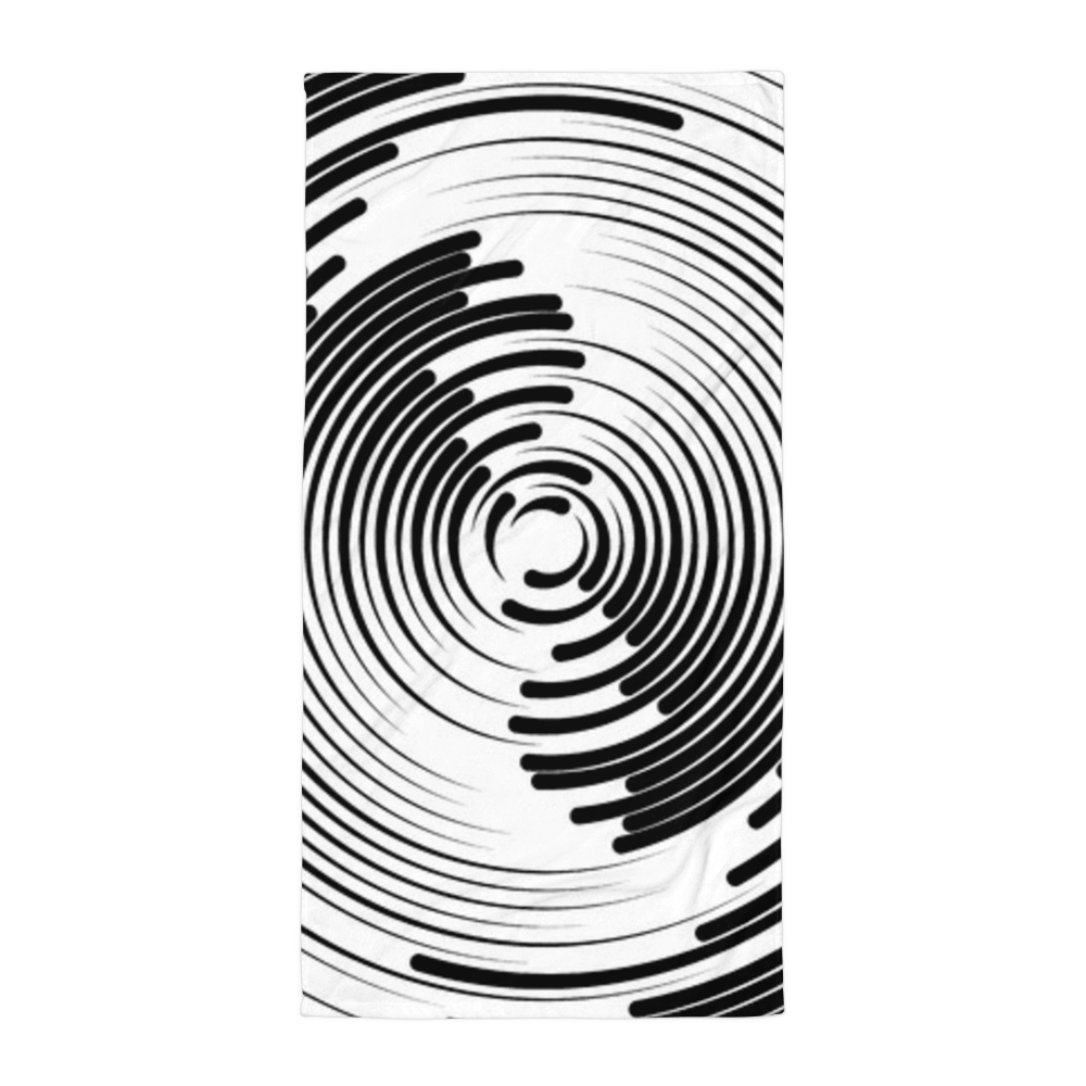 Ripples drawing spiral. Sublimated towel abstract radiating
