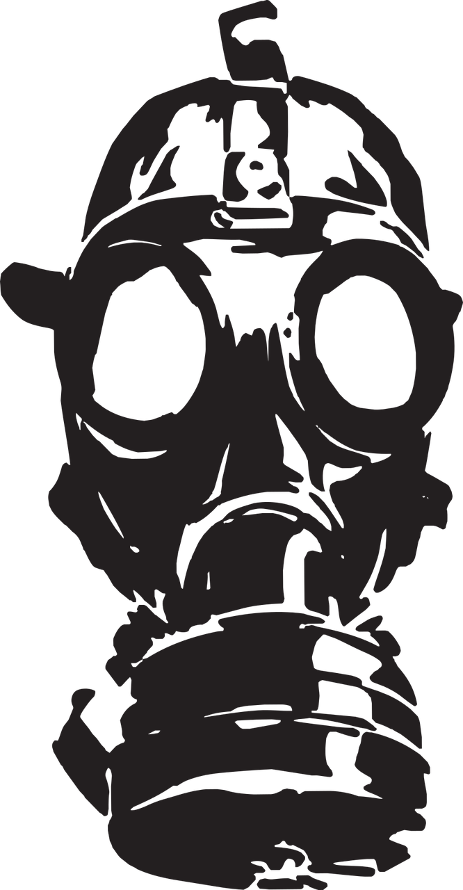 Radiation drawing gas mask. War old protection free