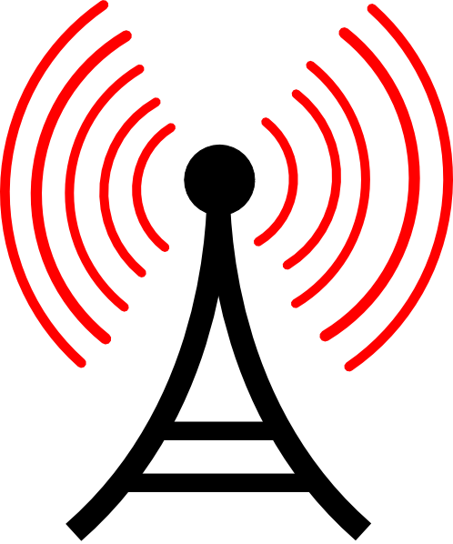 Radio antenna png. Red waves clip art