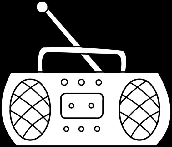 Radio clipart 90 radio. Png black and white