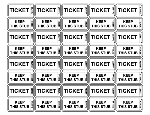 Free printable tickets templates. Raffle clipart ticket out the door vector