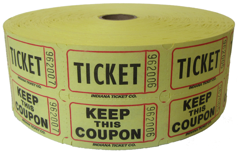 Raffle ticket images png. Double roll tickets yellow