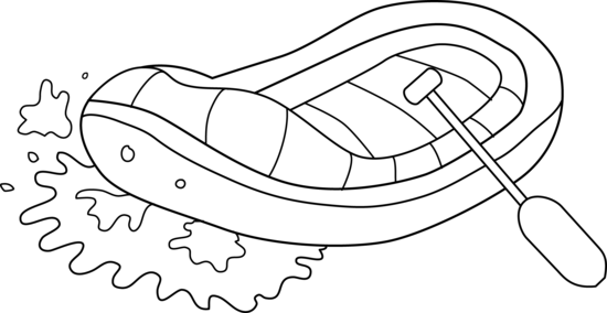 Drawing river black and white. Water rafting line art