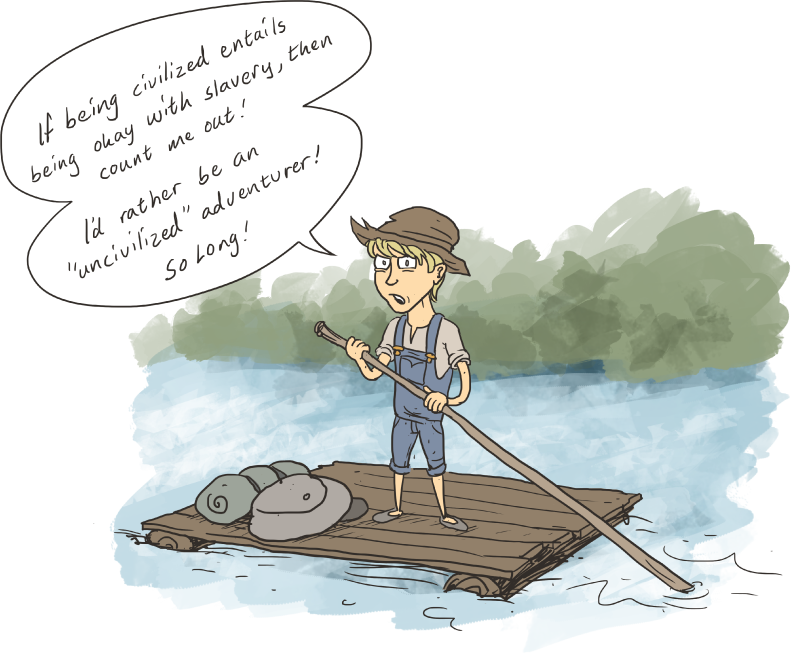 Raft drawing tom sawyer. Huck finn growth by