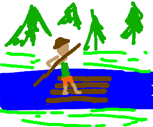 Raft drawing tom sawyer. Floating down the river