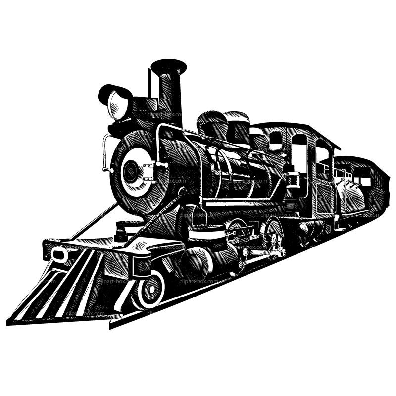 Railroad clipart old train. Black and white royalty